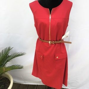 NWT  Belted Red Zip Front Dress 18W